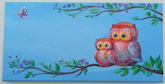 Check out Personalized Name, Owl Painting, Nursery Wall Art, Custom Name Painting, Kids Owl Painting on elenapaintings1