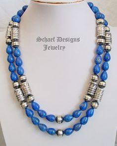 Schaef Designs Lapis & sterling silver tube & bench bead Southwestern necklace | Schaef Designs Southwestern Basics Collection | Turquoise Jewelry | New Mexico