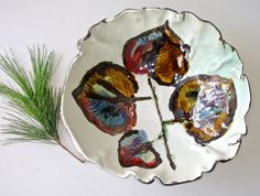 Autumn Leaves Ceramic Bowl pottery bowl serving bowl by Clayshapes, $49.00