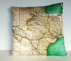 vintage map Texas, Organic cotton map of Texas cushion cover, pillow cover, cushion, 16 inch, 41cms