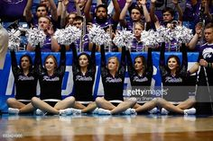 Kansas State Wildcats cheerleaders perform during the First Four game between the Kansas State Wildcats and the Wake Forest Demon Deacons in the 2017...