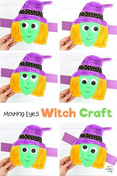 Moving Eyes Witch Craft: This simple paper craft is a really fun and interactive activity for pre-schoolers and school early years, but kids of all ages will love making silly faces just like the witch. You can also use our moving eyes witch craft to make Halloween decorations and kids can trick their friends with a witch picture who's eyes really do follow you around the room...