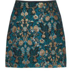 WARNER JACQUARD MINI SKIRT featuring polyvore, women's fashion, clothing, skirts, mini skirts, blue skirt, jacquard skirt, mini skirt, short skirts and short blue skirt