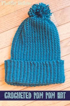 Crocheted Pom Pom Beanie | ThriftyBelow.com #crochet #freepattern