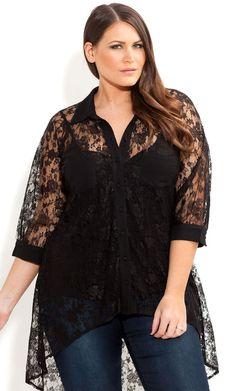 Plus Size 3/4 Sleeve Lace Surprise  blk Shirt - City Chic - City Chic