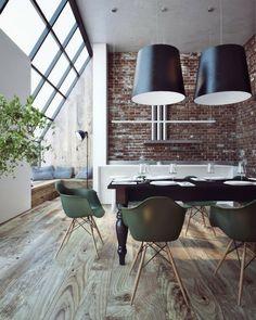 Clinker wall design modern windows laminate pendant lights dining area
