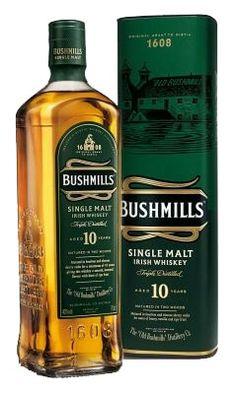 !0 jaar oude single malt. Alle Bushmills worden 3 x gedistilleerd waardoor ze veel zachter smaken dan de Schotse malts.