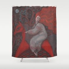 Red Horse, redhaired woman, magic night forest, folk art Shower Curtain by…