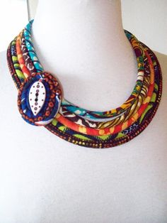 Ethnic African Fabric Tribal Multi Cord by paintedthreads2 on Etsy