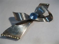 Vintage 1940s Sterling Bow Brooch $42.00 #hairdecoration #sterlingsilver #bow #brooch