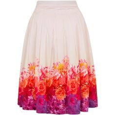 Wolf & Whistle Ombre Floral Midi Skirt ($72) ❤ liked on Polyvore featuring skirts, women, floral printed skirt, full pink skirt, ombre skirt, mid calf skirts and midi skirt
