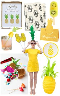 pineapple party inspiration, pineapple party decor, pineapple party, yellow summer party ideas,