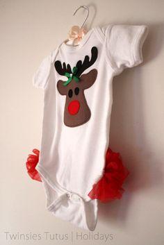 Reindeer Ruffled Butt Onesie by twinsiestutus on Etsy, $12.50