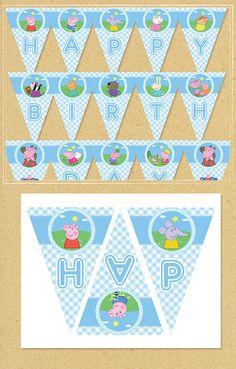 Peppa Pig Printable Banner Blue Plaid Peppa by NineLivesNotEnough