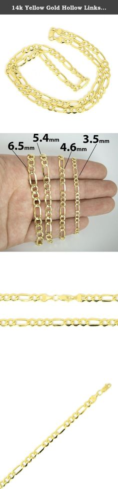 """14k Yellow Gold Hollow Links Figaro 5.4 mm Chain Mens Necklace 24"""". This necklace is made of 14k yellow gold with hollow links. Entire chain, including lock, is made of 14k gold - not plated or filled - and is stamped 14k."""
