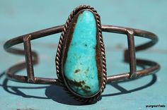 Vintage Southwestern Tribal Navajo Style Sterling Silver & Turquoise Cuff Bracelet