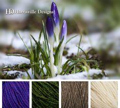 Welcome Spring Yarn Color Palette! Violet, Hemlock, Toffee, White. #HarrisvilleDesigns