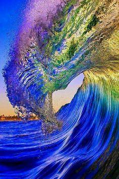 Ocean.  Wave.   Sunset