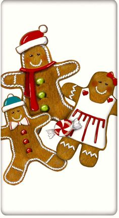 Gingerbread Cookies Christmas 100% Cotton Flour Sack Dish Towel Tea Towel