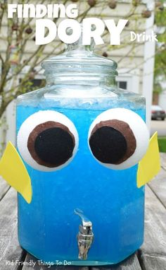 Finding Dory party drink   The container is too cute! She uses Hawaiian punch, but anything that is blue would work.