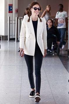 thefashioncomplex: Alexa Chung at Heathrow Airport on May 19, 2014