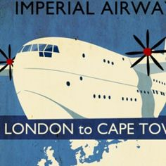 Martin Sanders - Imperial Airways - London to Cape Town retro style map