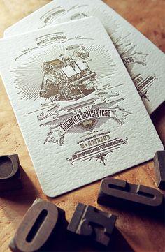 Carton publicitaire Cocorico Letterpress / Impression recto verso 2 couleurs or et marron
