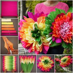Crepe Paper Flowers. I remember making these out of gift-wrap tissue when I was a kid, and then teaching my daughter. :)C