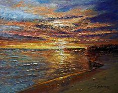 """Autor...  José Carretero  Técnica...  Óleo sobre tabla 30x24 cm  Título...  """"Amanecer en la playa"""""""
