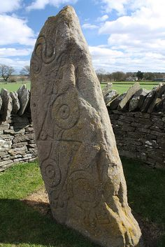 The Aberlemno Serpent Stone. The Aberlemno Sculptured Stones are a series of five Class I and II Early Medieval standing stones found in and around the village of Aberlemno, Angus, Scotland. Ancient Mysteries, Ancient Ruins, Ancient Artifacts, Ancient History, Land Art, Statues, Scotland History, Cairns, Celtic Art