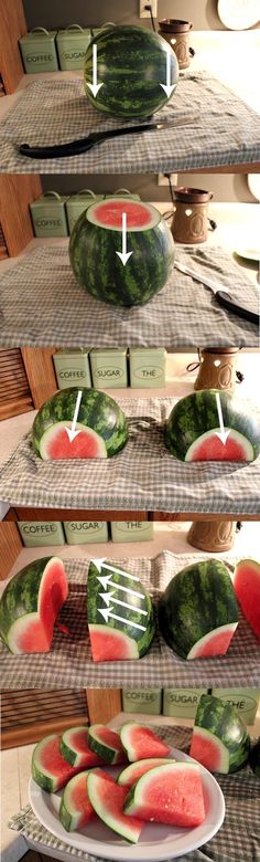 The easy way to cut a watermelon! I feel like such a bone head for not knowing the proper way to carve a watermelon!