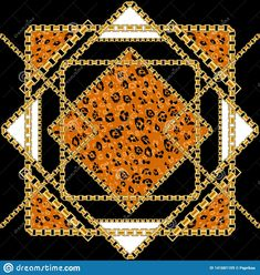 Black and gold leopard vector image on VectorStock Leopard Pattern, Adobe Illustrator, Illustrators, Printing On Fabric, Vector Free, Bohemian Rug, Quilts, Chain, Versace