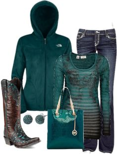 A fashion look from January 2013 featuring teal top, The North Face and zip jeans. Browse and shop related looks. Country Girls Outfits, Cowgirl Outfits, Cowgirl Style, Western Outfits, Western Wear, Cowgirl Tuff, Western Dresses, Western Style, Country Style