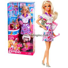 """Mattel Year 2011 Barbie """"I Can Be"""" Series 12 Inch Doll Set - Pet Vet BARBIE (W3740) with Uniform, Clipboard, Yorkshire Terrier Puppy and High Heel Shoes"""