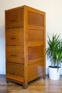 antique wood file cabinet 4 drawer