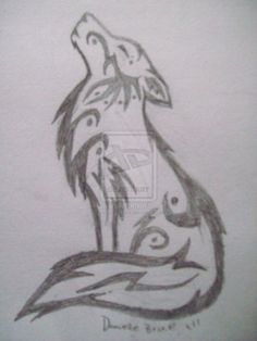 Tribal Howling Wolf Sketch by *DeviouslyDani on deviantART. I wouldn't have it, but this is cute