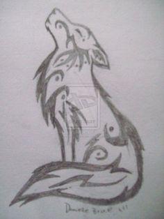 Tribal Howling Wolf Sketch by *DeviouslyDani on deviantART