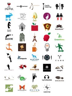 these different colored logos are interesting and creative and they also show different type of typography