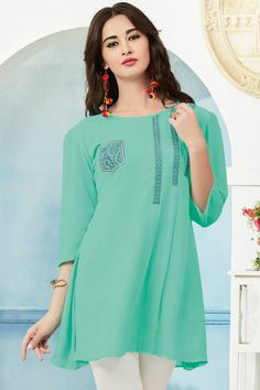 Sky Blue Top Style Georgette Kurti With Embroidary Work Juelle Vol 2 Kessi Fabrics Catalog 9407