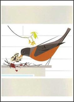 Charley Harper – Available on CharleyHarper.com – A Place to Call Home (Robin) - Notecard Pack