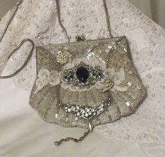 Silver Beaded Purse, Stunning Wedding Clutch, Victorian Noir Formal Evening Bag by Marelle, Eltelle Mon Frai