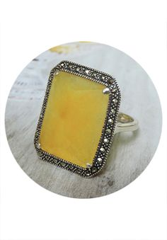 Sterling Silver, Marcasite & Yellow Jade Ring