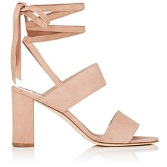 Manolo Blahnik Women's Khandala Suede Ankle-Tie Sandals ($765) ❤ liked on Polyvore featuring shoes, sandals, beige, ankle strap high heel sandals, flat shoes, open toe flat sandals, beige sandals and manolo blahnik sandals