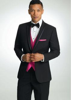 Black Kristoff Skinny One Button Notch by Savvi - Tuxedos