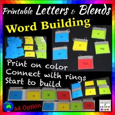 WORD BUILDING ACTIVITY CARDS for K-2 READING CENTRES *Aphabet *Blends *Suffixes / This is a printable, easy to assemble activity for your Reading Centre. It is a set of 205 cards that once connected with bookrings, becomes a fantastic word building activity, that caters for most students.