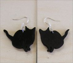 Fat Black Cat earrings drops and studs in different sizes to suit any occasion. Hand made for the cat lover