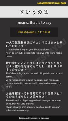 Learn Japanese Grammar: というのは (to iu no wa)