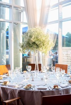 Tall baby's breath arrangement at a DC waterfront wedding Wedding Reception Photography, Wedding Reception Flowers, Wedding Flower Arrangements, Wedding Bouquets, Floral Arrangements, Wedding Reception Centerpieces, Wedding Table, Wedding Decorations, Reception Table