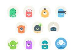 Set of default avatars for Talk. The last one is the default avatar for groups. Game Design, Icon Design, Web Design, Avatar Images, Funny Monsters, Flat Design Illustration, Folder Design, Mascot Design, Logo Concept