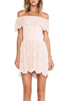 Nightcap's fitted lace dress that flares out for a flattering silhouette and flouncy off the shoulder sleeves. Scalloped hem. Open back. Fully lined. Wear with tan wedges and a cute clutch!  This is a great dress for a summer wedding!